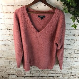 Forever 21 Ultra Fuzzy V-Neck Sweater